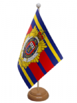 Royal Logistic Corps Desk / Table Flag with wooden stand and base